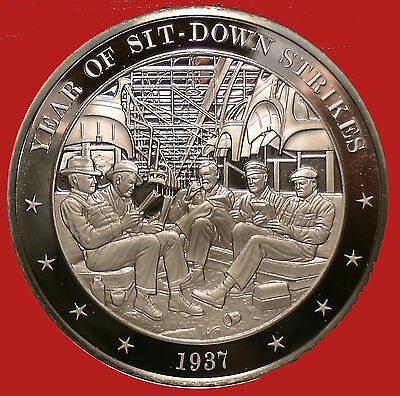 1937 Year of Sit-Down Strikes  -  Franklin Mint  Bronze Medal