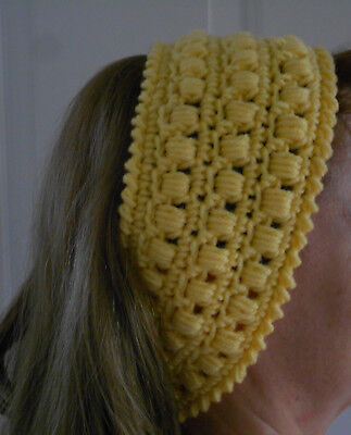 LOT OF TWO, Handmade crocheted ear warmer/head band, one yellow, one turquoise