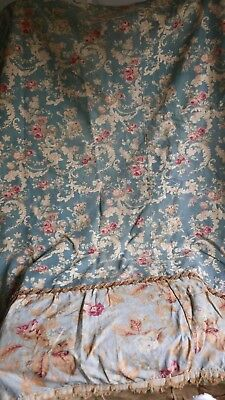 Antique French Floral Fabric Panel Blue Pink Roses Peonies-  Decorative Antiques