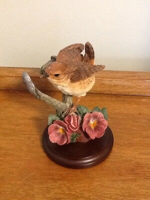 Wren With Pansies Figurine