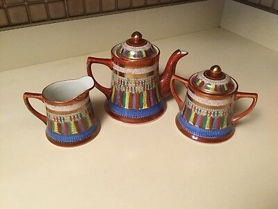 Antique Kutani Japanese 1000 Thousand Faces Tea Set Teapot Cream Sugar w Lid