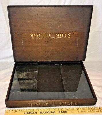 Antique Pacific Mills Thread Wood Glass Display Case Country Store Lawrence Ma