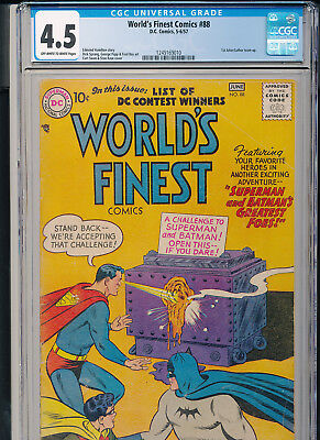 WORLD'S FINEST 88 1957 DC CGC 4.5 1st Joker-Luthor teamup. OWW pages.
