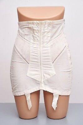 "VTG 50s QT Open Bottom Girdle 4Garter Corset OBG waist 26""- 28"" ultra femme"