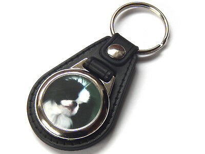 JAPANESE CHIN Dog Puppy Quality Leather and Chrome Keyring