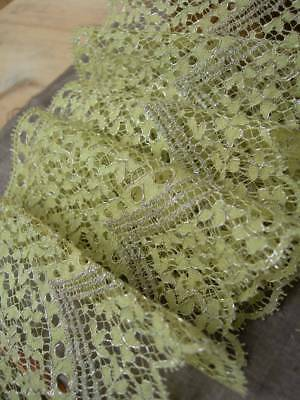 5 metre length unused primrose yellow & silver metallic 1920s French lace (B