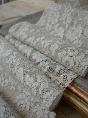 "362cms (142"") unused 1920s vintage French lingerie lace - roses"