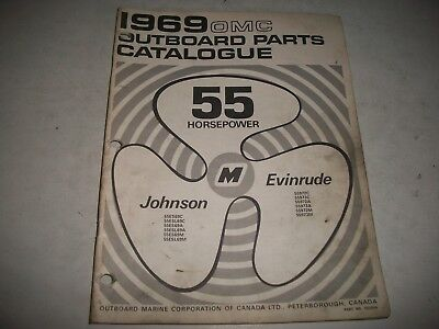 1969  EVINRUDE and JOHNSON  55 HP OUTBOARD PARTS LIST CATALOG