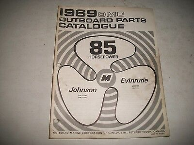 1969  EVINRUDE and JOHNSON  85 HP OUTBOARD PARTS LIST CATALOG