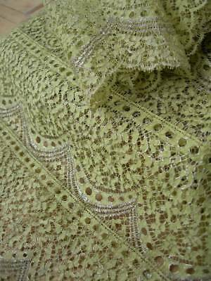 4 metres + unused primrose yellow & silver metallic 1920s French lace