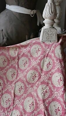 Antique French Fabric, Pink & Cream Floral Cotton 19C Panel Home Furnishing