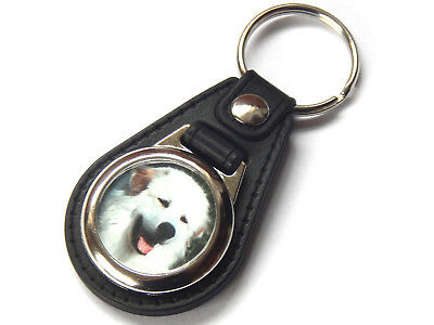 PYRENEAN MOUNTAIN DOG Dog Puppy Quality Leather and Chrome Keyring