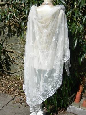 Antique Victorian fine tambour lace wedding veil shawl 1890s