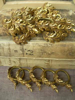 Collection 20 vintage antique French gilded metal ornate curtain rings