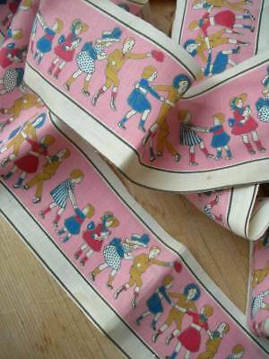 Unused vintage French printed cotton trim with adorable motifs of children