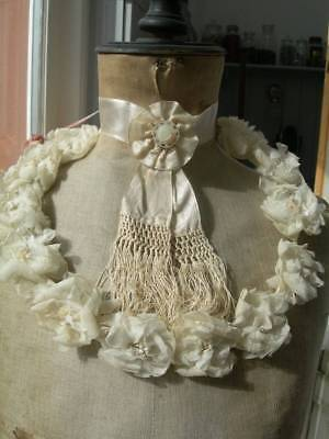 Antique French flowers wedding crown & silk neck ribbon rosette