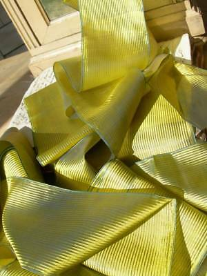 5 metres antique French pure silk sash ribbon - shot silk lime green/tuquoise