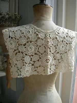 Antique French Schiffli lace collar capelet 1890s - rose motifs