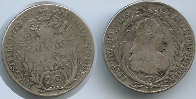 G13699 - RDR Österreich 20 Kreuzer 1772 EvS AS KM#2067.1 Silber Maria Theresia