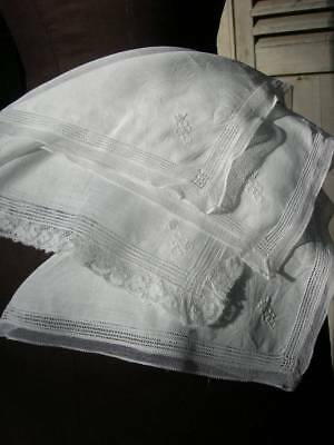 4 hand embroidered antique French lace handkerchiefs w. crown monograms