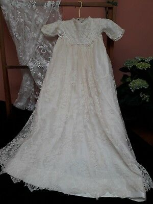 Antique Silk Lace Christening Gown Stunning Damaged Doll Bear Victorian Ivory