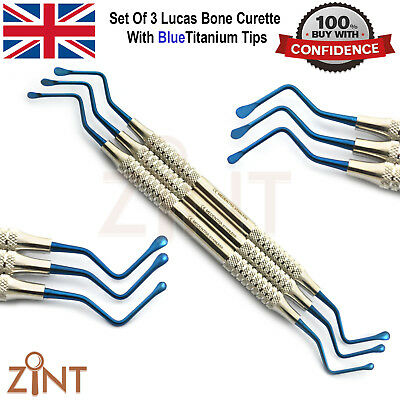 Periodontal Lucas Bone Curettes 2.5mm 3mm 4mm Blue Titanium Coated Cyst Removal