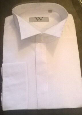 White wing winged tip collar shirt Wedding formal Groom Best man Tailored NEW