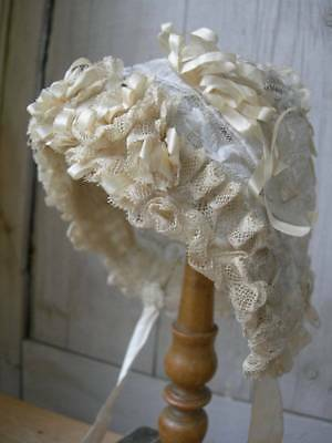 Stunning antique French 19th Century lace & silk ribbons baby / doll bonnet
