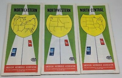 Lot of 3 Vintage AAA 1960 1960 Road Maps Northeastern Northwestern North Central
