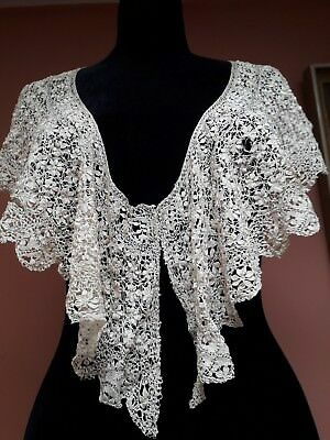 Vintage Maltese Lace Large Collar Bertha Shawl Antique Original Cream Silk