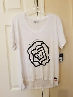 New with Tags Peace Love World Mia V-neck Top T-shirt Size XS White