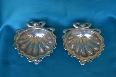 Rare pair of Art Nouveau silver shell dishes