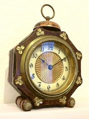 Rare Antique Irish Shamrock Mantle Alarm Clock in Wood & Brass