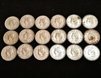 18 x 1957, 1958 & 1959 Argentina 5 Centavos Coins - Nicely Detailed Coins
