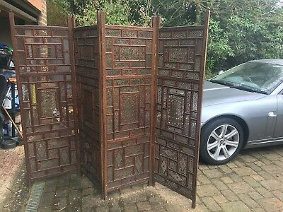 Large Antique Indian Carved Screen