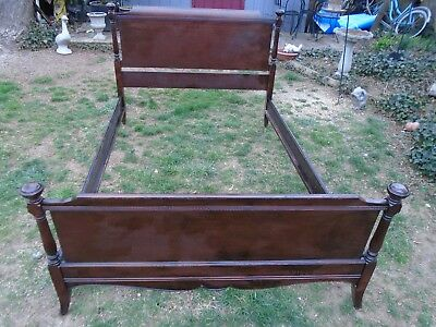Antique  Mahogany Victorian Wood Early 1900's Double Bed