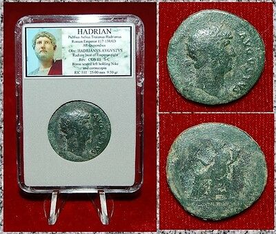 Ancient Roman Empire Coin Of HADRIAN Roma Seated Holding Nike On Reverse