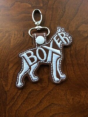 Embroidered Handmade Boxer Dog Keychain