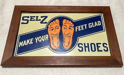 Reproduction Selz Shoes Sign Real Wood Frame