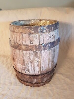 Early Small Barrel Keg With Traces Old Salmon Paint