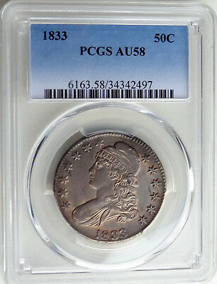 50c 1833 Bust Half, PCGS AU-58, attractive amber toning, mint luster