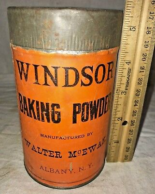 Antique Windsor Baking Powder Tin Albany Ny Can Vintage Country Grocery Store