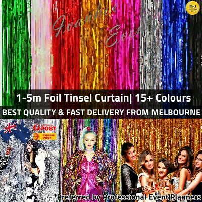 2m Metallic Foil Tinsel Curtain Foil Backdrop Birthday Hens Party Decor AUS