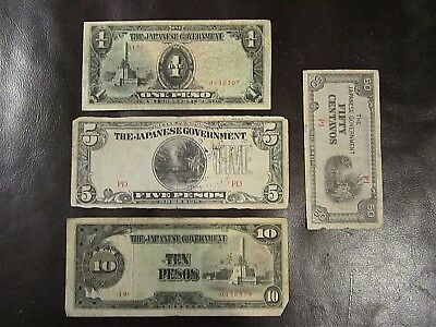 4 JAPANESE occupation currency notes of the Philippines during WWII