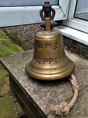 """Large Brass Ship's Bell Engraved With """"hms Keppel"""" Approx. 20Cm High"""