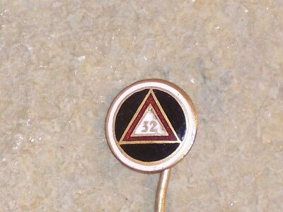 Vintage 32nd Degree Masonic Lapel Pin White and Red Enamel Round Child Chicago
