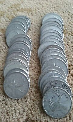 Canadian Silver Quarters-1 Roll +2/ 1940-1966; 80%
