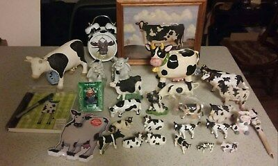 Huge 30 Piece Cow Collection Lot! Mostly Figurines + Clock, Bank, Notebook, More
