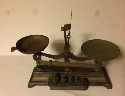 Antique Henry Troemner Cast Iron Apothecary Scale.