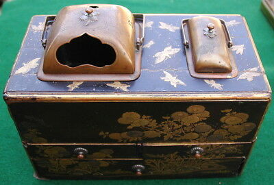 Vintage 19th Century Black & Gold Lacquered Chinese Incense Burner or Tea Caddy